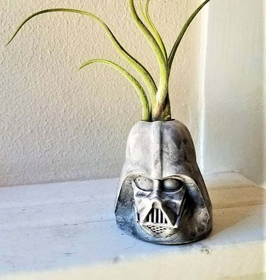 Redwood Stonework Darth Vader Inspired Planter Desk Decor