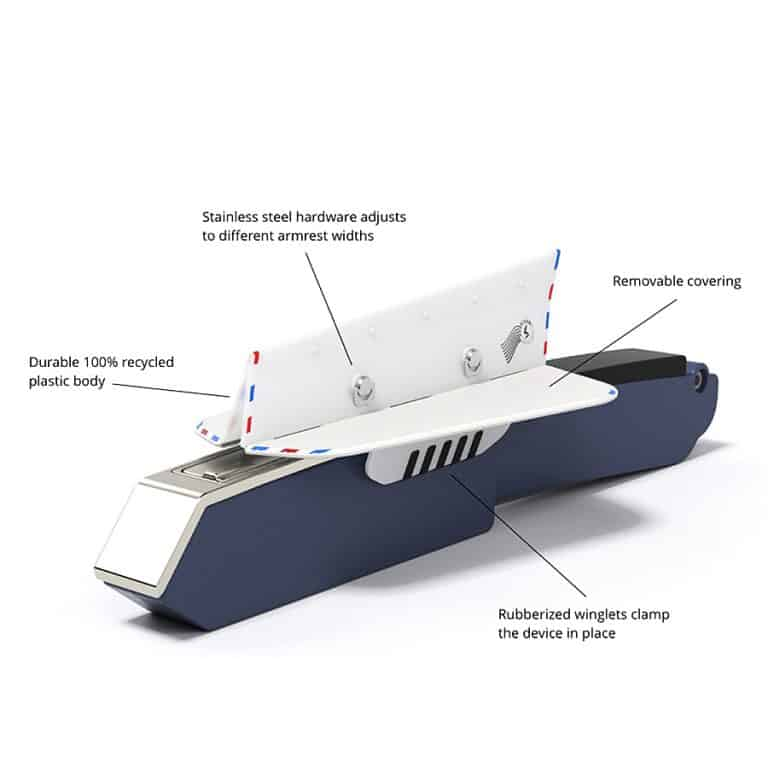 Soarigami Airplane Portable Armrest ExtenderDivider Product Diagram