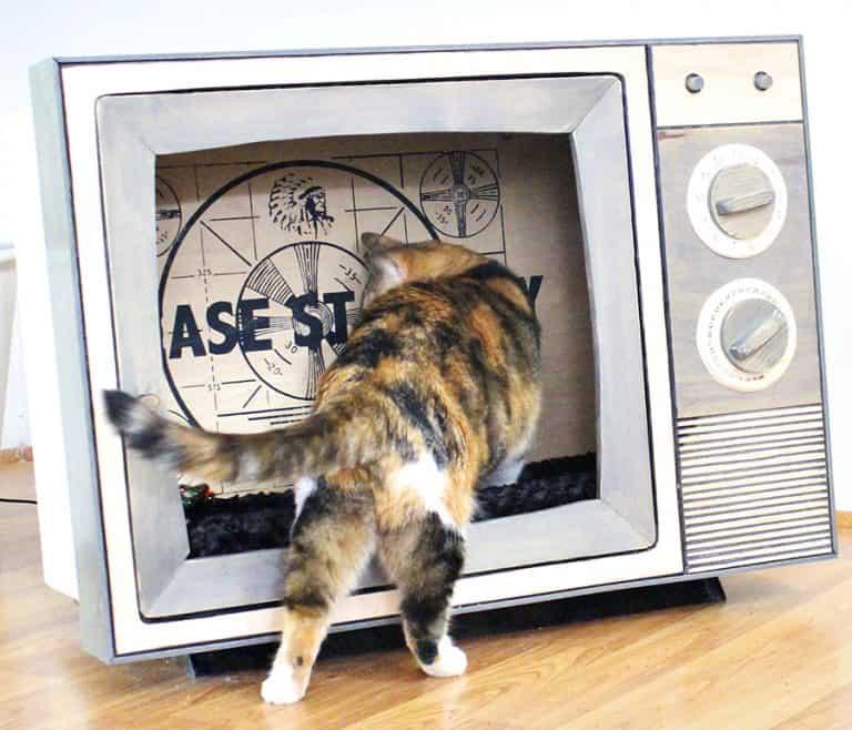 CatastrophiCreations Vintage TV Cat Bed Cat Furniture
