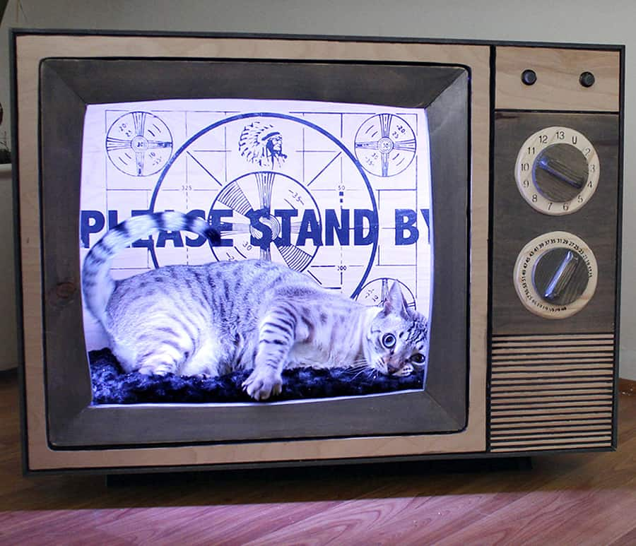 CatastrophiCreations Vintage TV Cat Bed Pet Supply