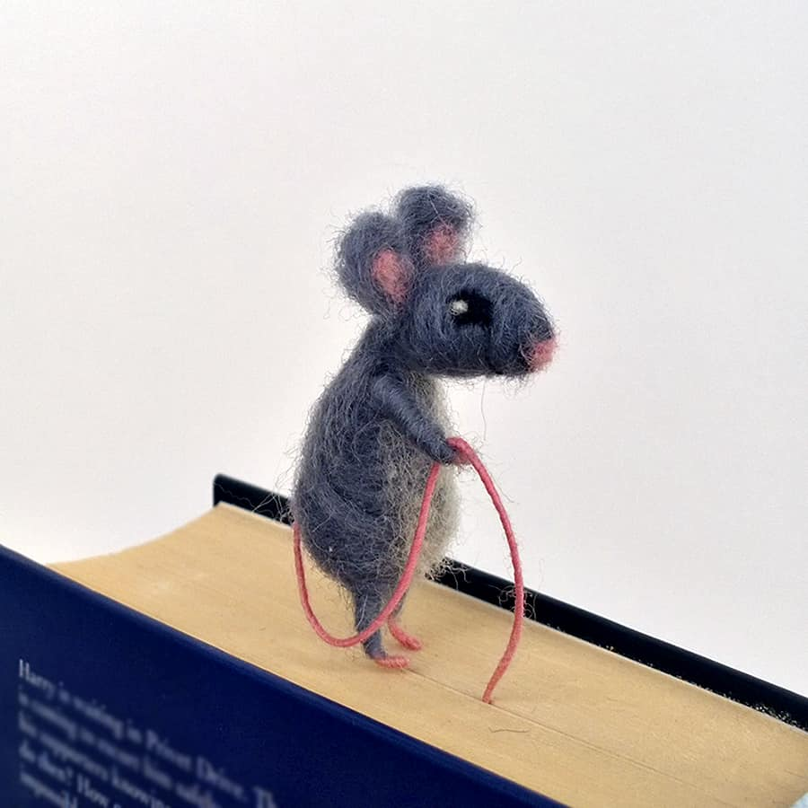CozyMilArt Felt Miniature Grey Mouse Bookmark Accessory