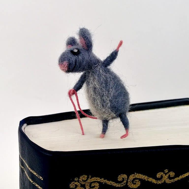 CozyMilArt Felt Miniature Grey Mouse Bookmark Handmade Accessories