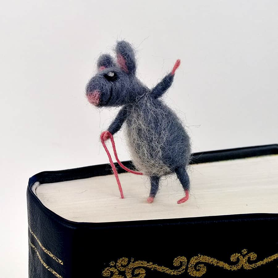 CozyMilArt Felt Miniature Grey Mouse Bookmark Handmade Accessories