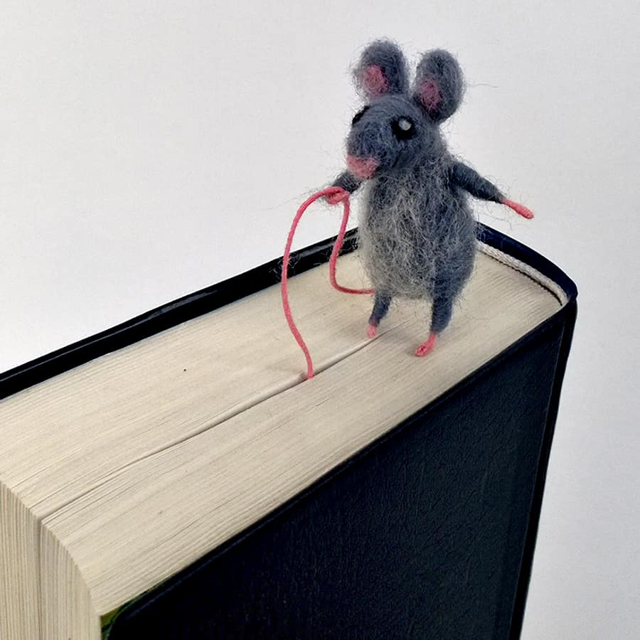 CozyMilArt Felt Miniature Grey Mouse Bookmark Made to Order