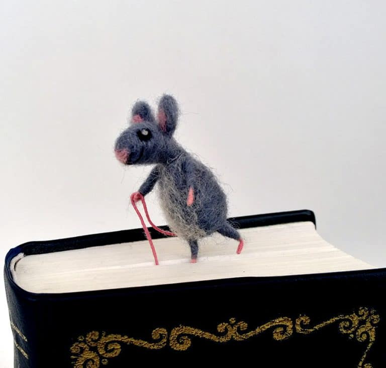 CozyMilArt Felt Miniature Grey Mouse Bookmark Woolen Mouse
