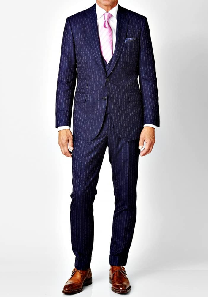 David August Eff You Pinstripe 3-Piece Wool Suit Male Suits