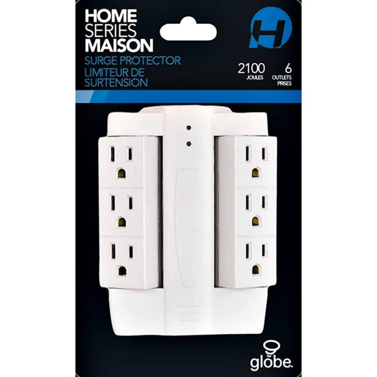 Globe Electric 6 Outlet Swivel Surge Protector Wall Tap Electrical Devices