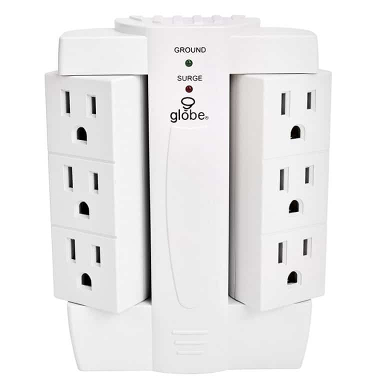 Globe Electric 6 Outlet Swivel Surge Protector Wall Tap Novelty Item