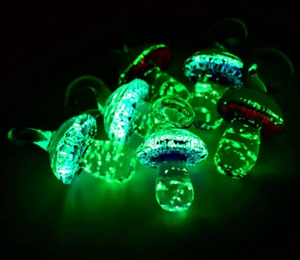 HempBeadery Glow in The Dark Glass Mushroom Pendants Accessory