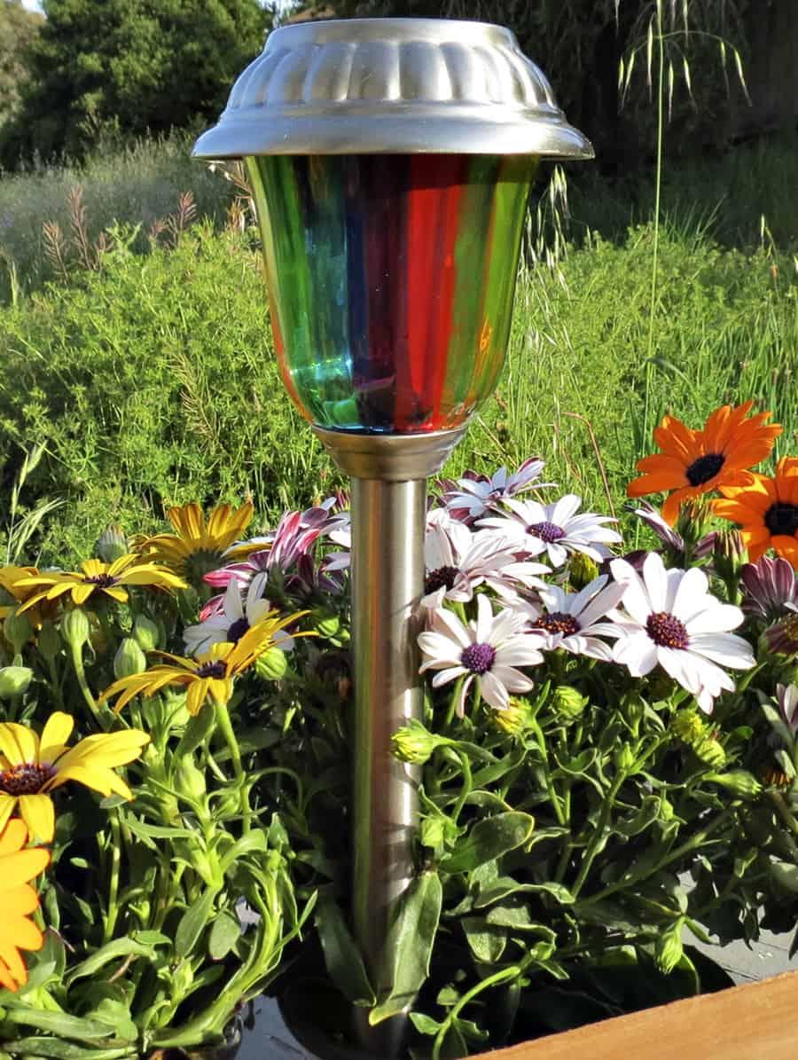 MoodLights Rainbow Painted Solar LED Path Light Green Energy