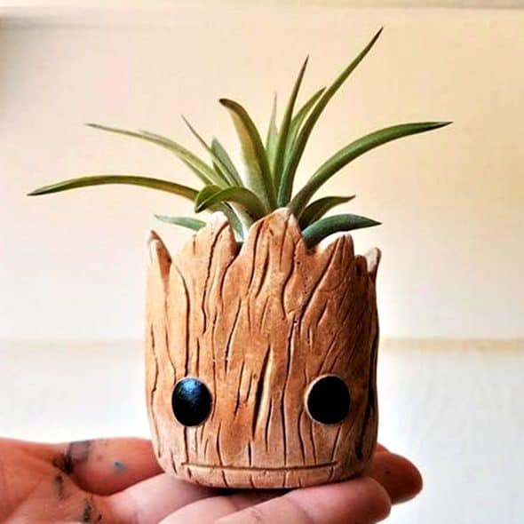 Redwood Stoneworks Baby Groot Inspired Planter Air Plant