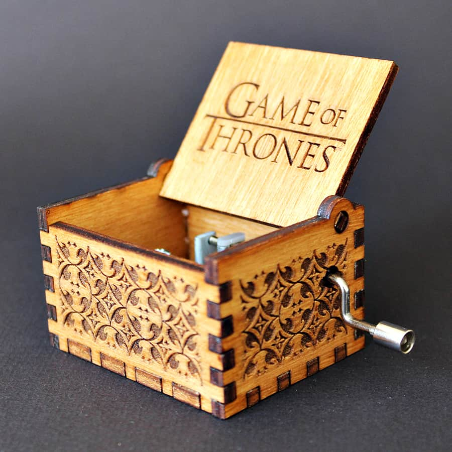 Soundbarrel Game of Thrones Engraved Wooden Music Box Handmade