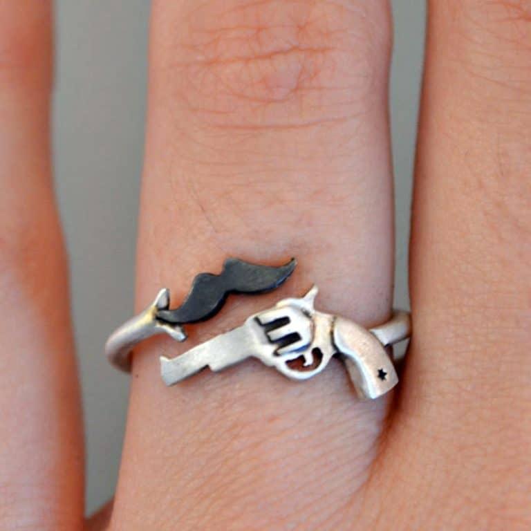 Thinkupjewelry Gun and Mustache Ring Jewelry