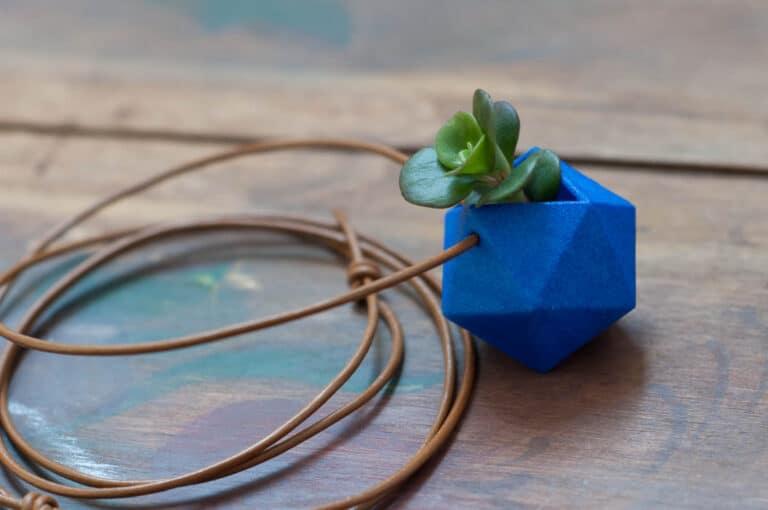 Wearable Planter Icosahedron Planter Necklace Blue Nature Fashion