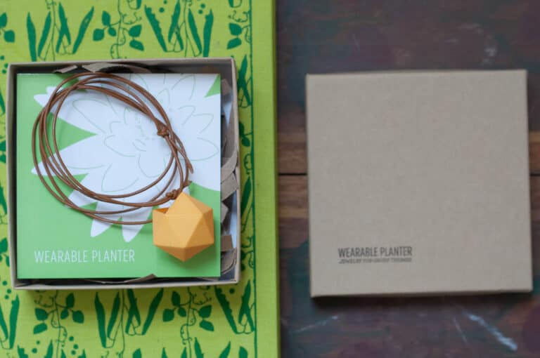Wearable Planter Icosahedron Planter Necklace Yellow Model Packaging