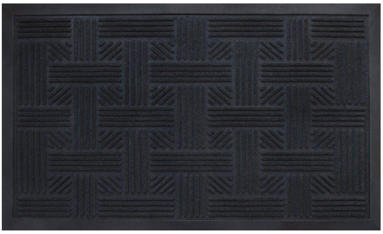 Black door mat with cross hatch texture pattern