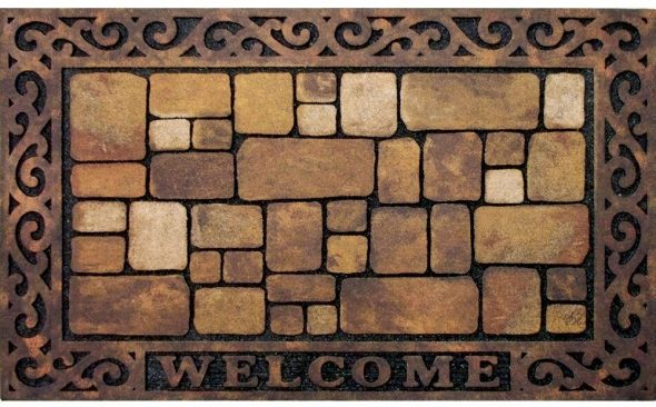 Brick styled front door mat with welcome text