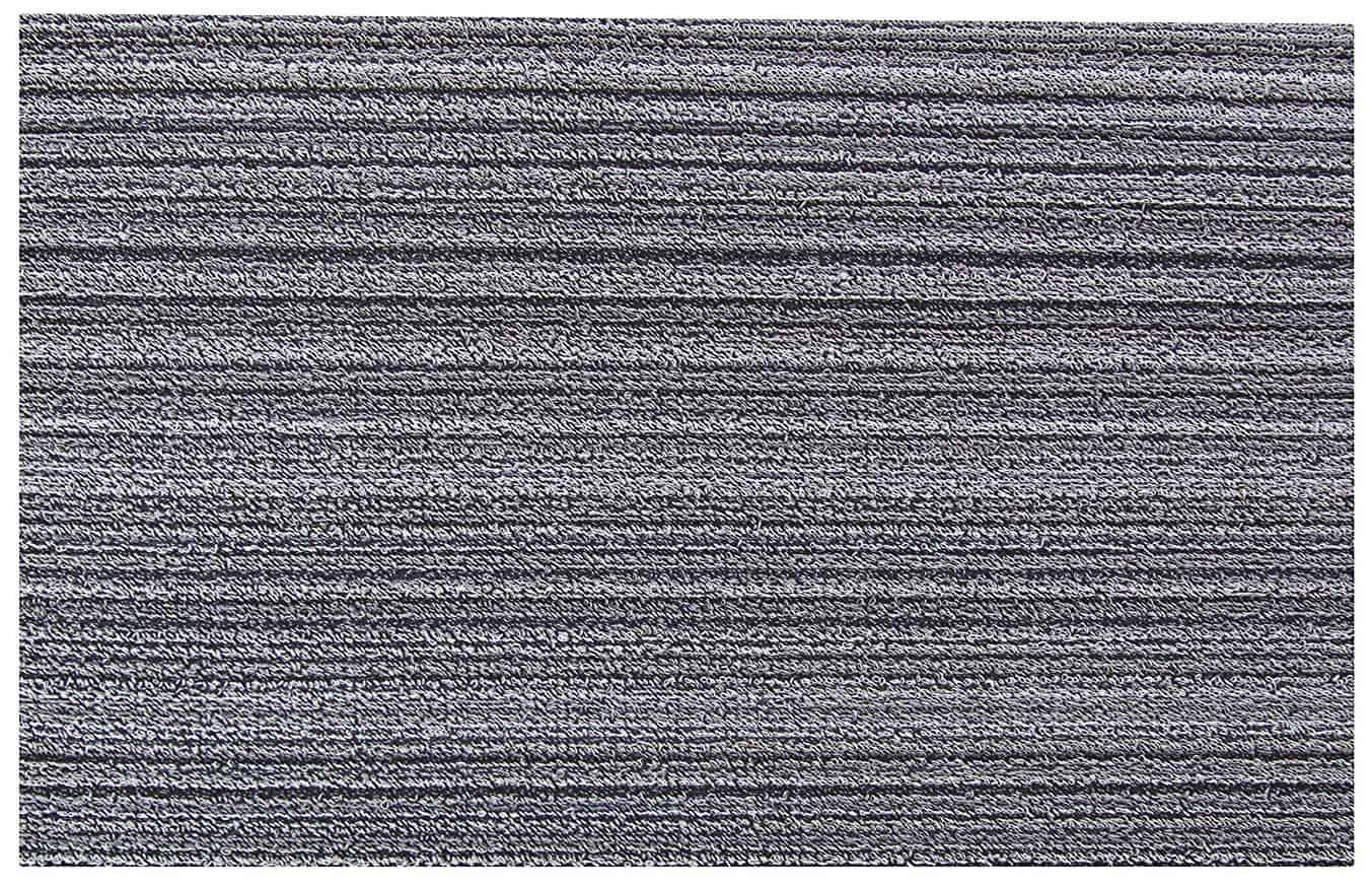 Rectangular gray striped doormat