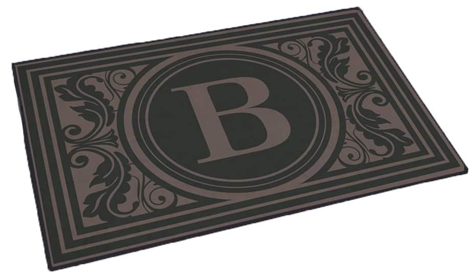 Black door mat with vintage styled B monogram design