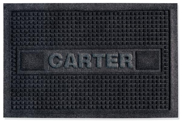 Custom square textured black doormat with text Carter