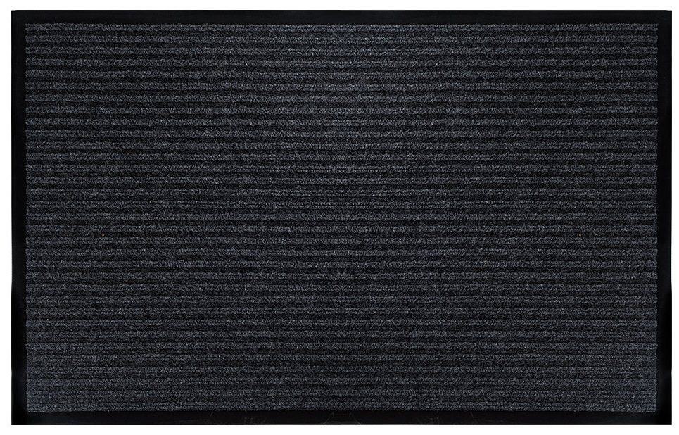 Gray horizontally striped door mat