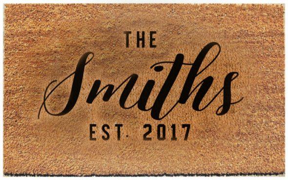 Custom door mat with text The Smiths EST. 2017
