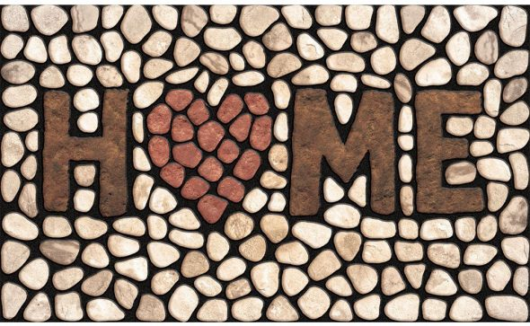 Pebble design door mat with heart and home text