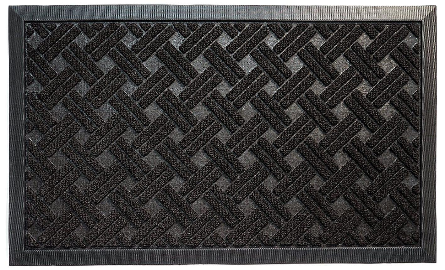 Dark brown cross hatched door mat