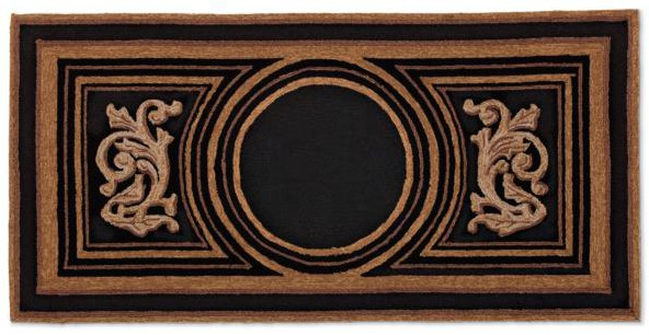 Black rectangular custom door mat with roman inspired design with blank monogram