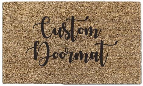 Coir doormat with black custom lettering desing