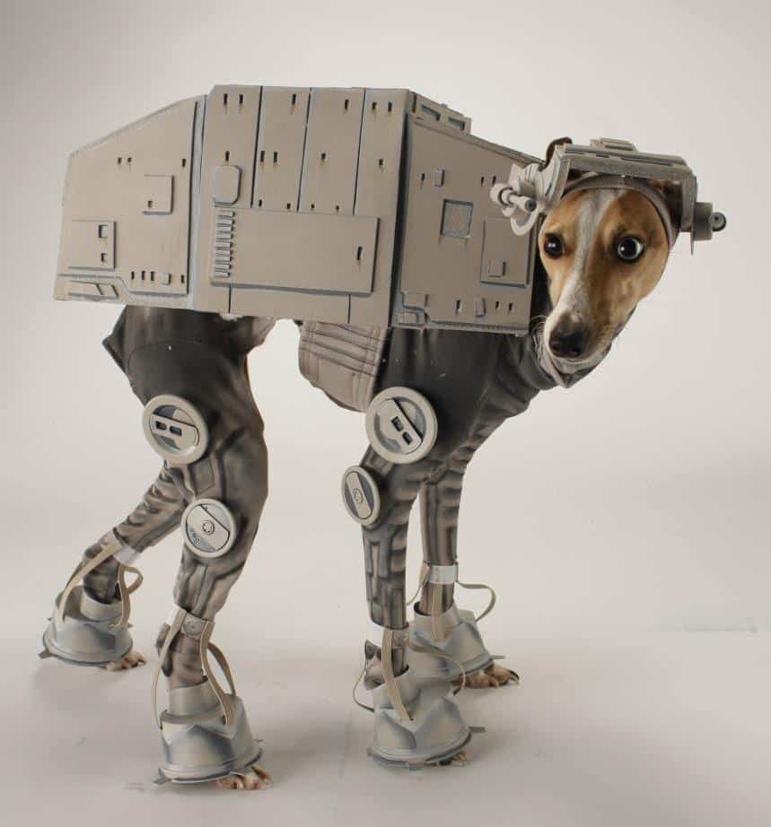 Greyhound dog wearing Star Wars AT-AT costume
