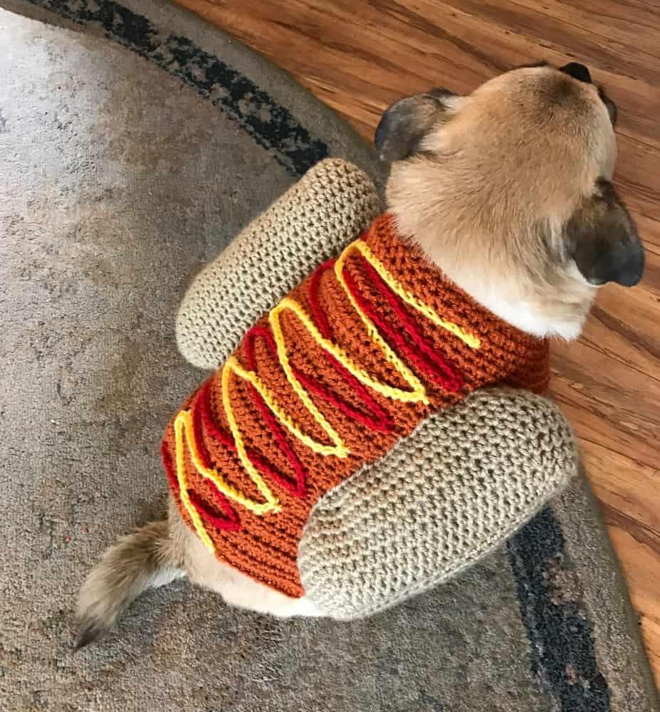 Pug wearing a funny crochet hotdog costume