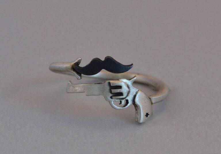Thinkupjewelry Gun and Mustache Novelty Ring