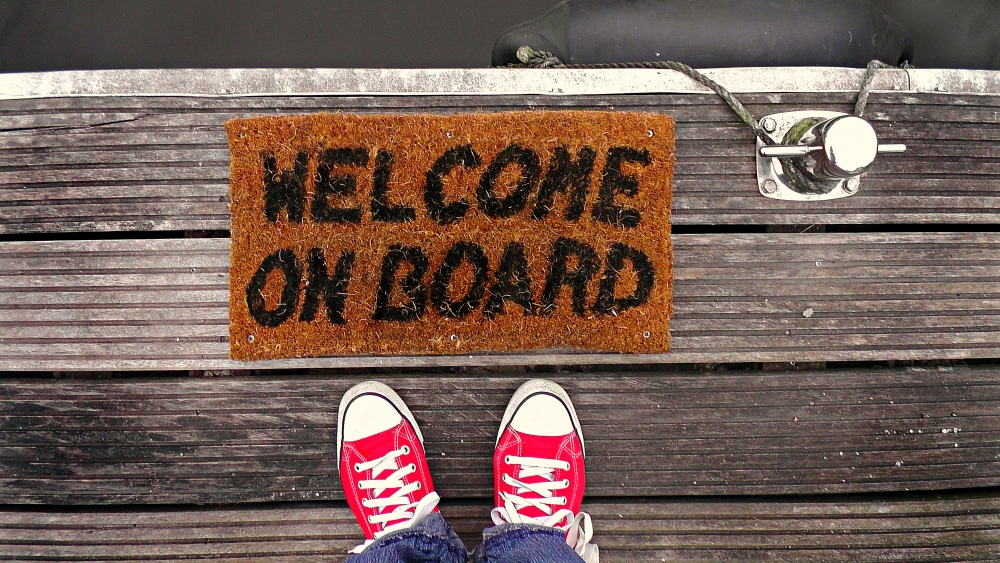 Personalized brown coir doormat that says Welcome on Board