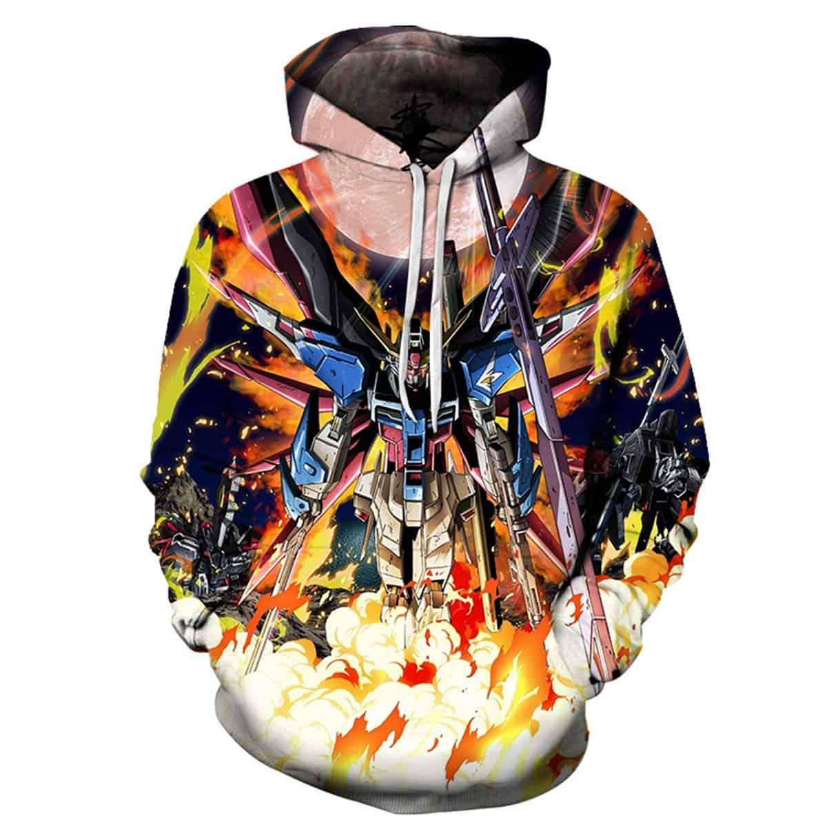 Men Hoodies & Sweatshirt CHENMA Men Cosplay Gundam 3D Print Pullover