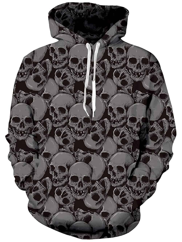 Men Hoodies Gray Skull Pattern
