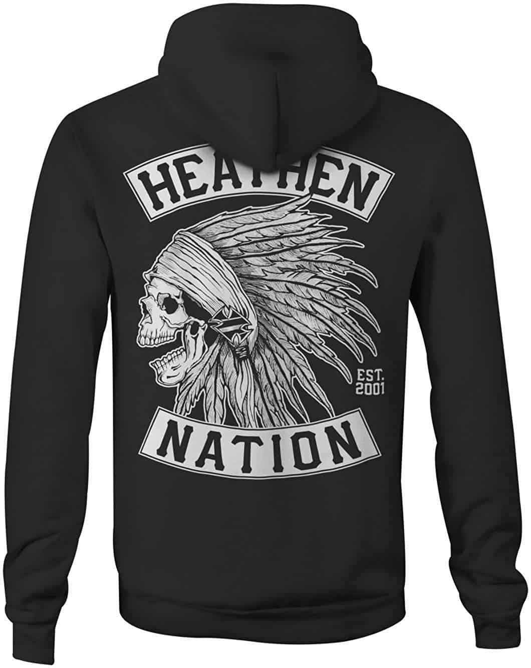 Men Hoodies Heathen Chief Skull Zip Up Hoody