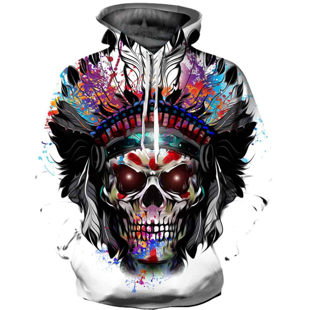 Men Hoodies Indian Skull Colorful