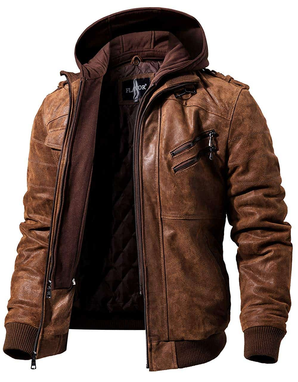 Men Hoodies Brown Leather Motorcycle Jacket with Removable Hood