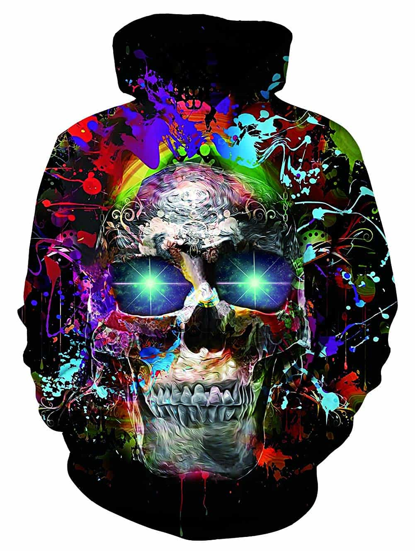Men Hoodies Skull Glowing Eyes