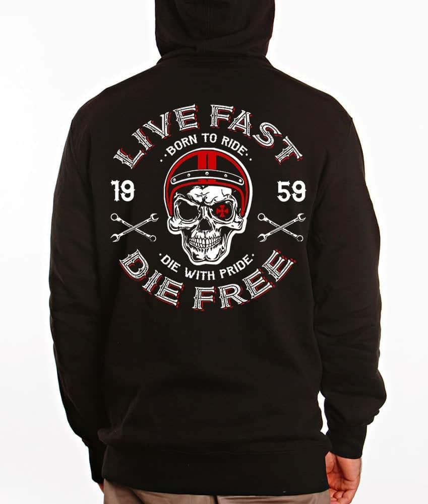 Men Hoodies Skull Helmet Dragstrip Clothing Mens Live fast Die Free Speed Hooded Top