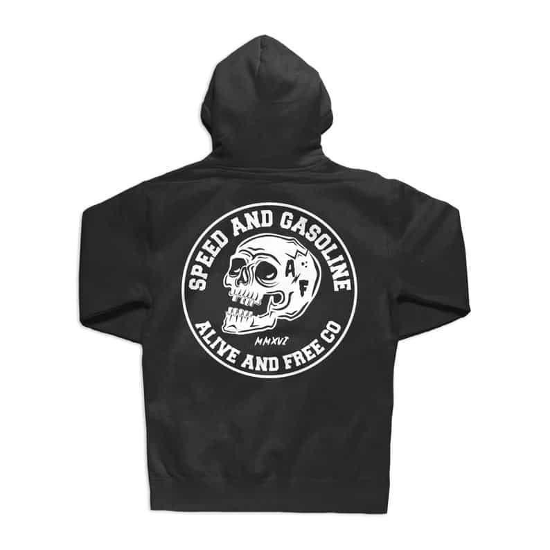 Men Hoodies Speed And Gasoline Bone Head Skull