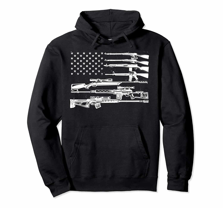 Men Hoodies & Sweatshirts US Flag Guns
