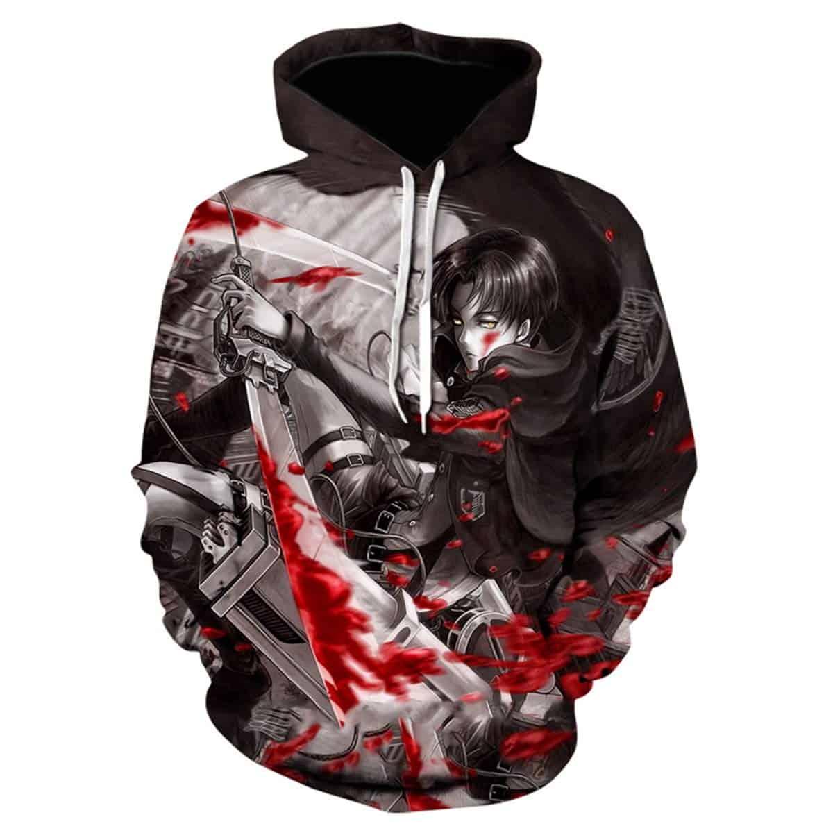 Men Hoodies & Sweatshirt Attack on Titan 3D Print Pullover with Front Pocket