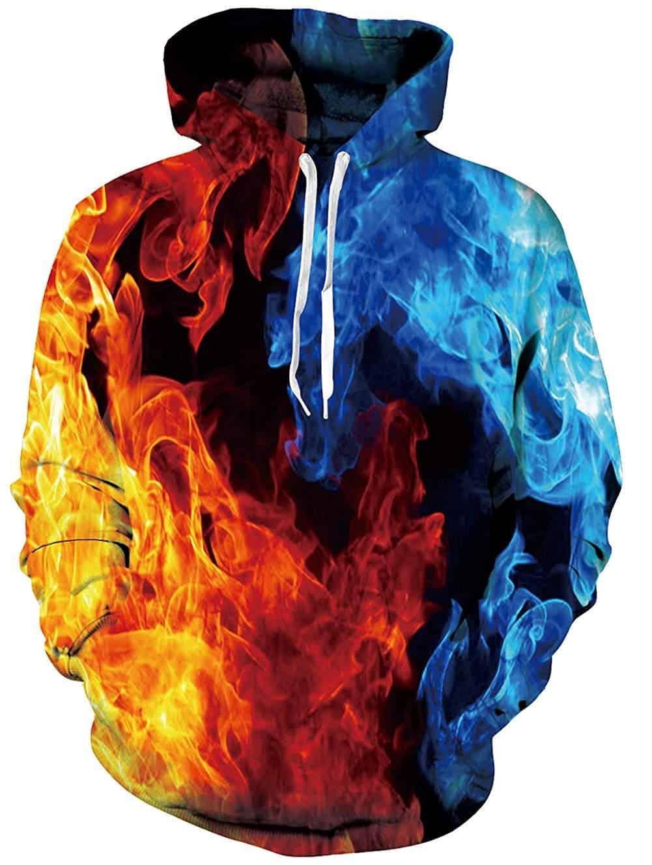 Men Hoodies & Sweatshirts Blue and Red Fire