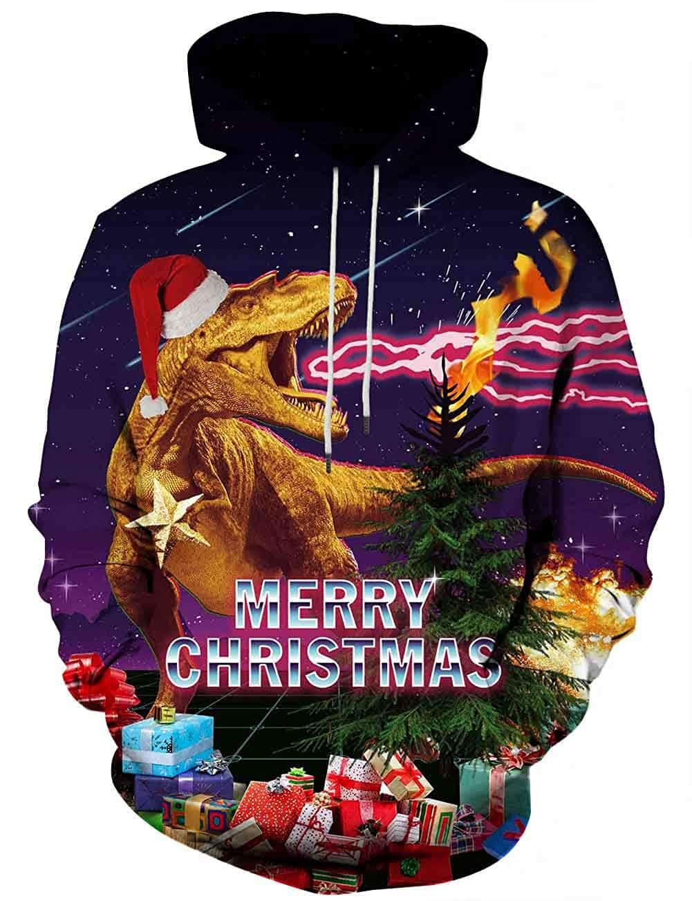 Men Hoodies & Sweatshirts T Rex Merry Christmas