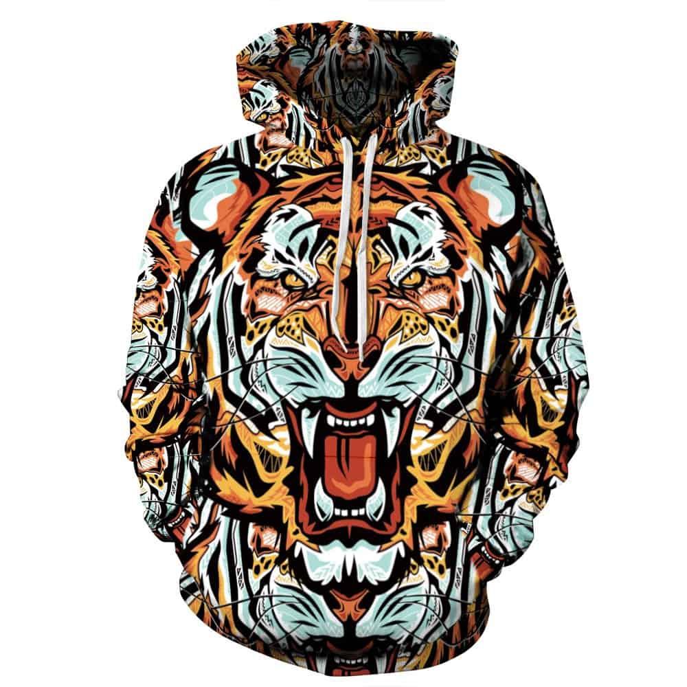 Men Hoodies & Sweatshirts Tiger Overall Print
