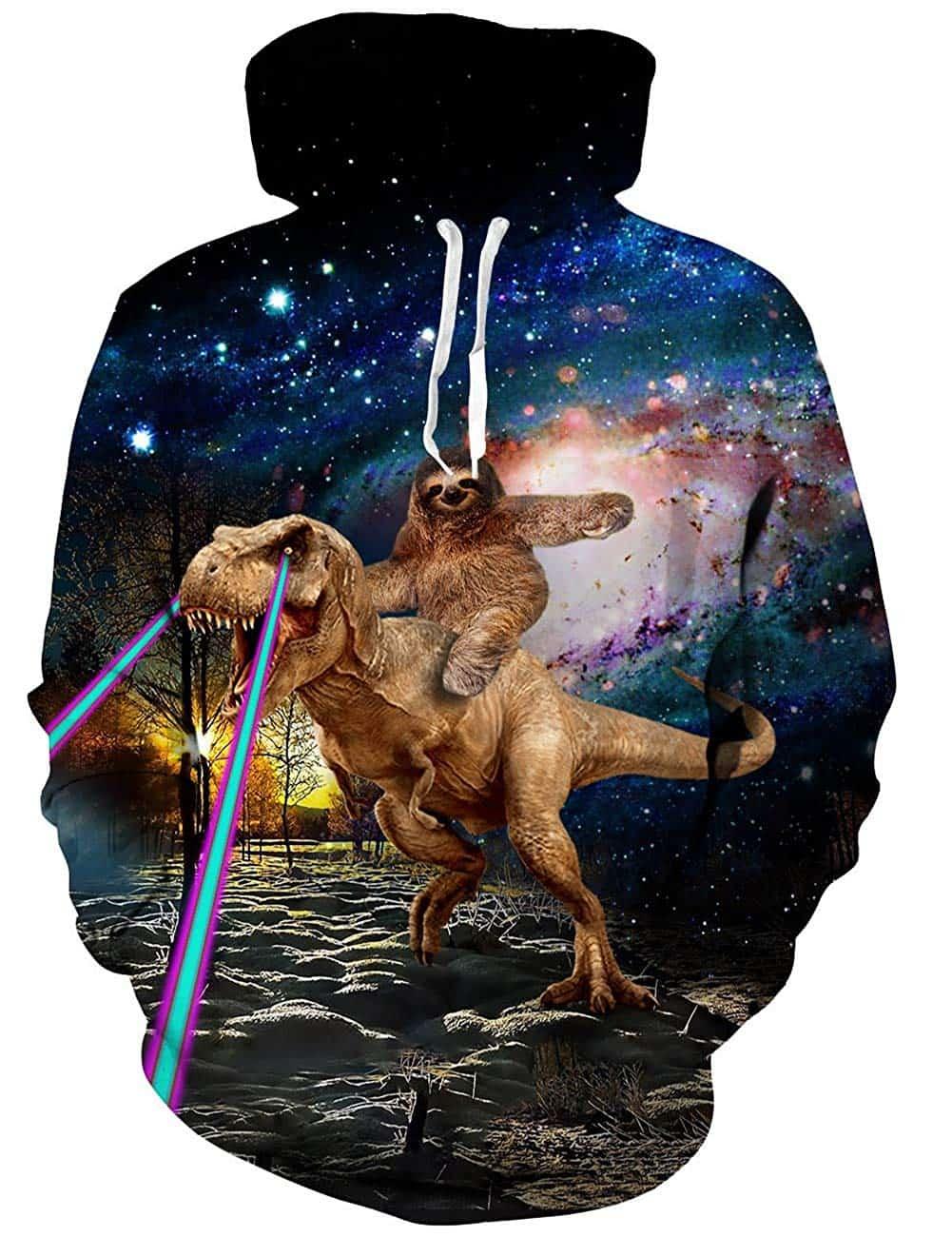 Men Hoodies & Sweatshirts Tyrannosaurus Rex Laser Eyes Sloth