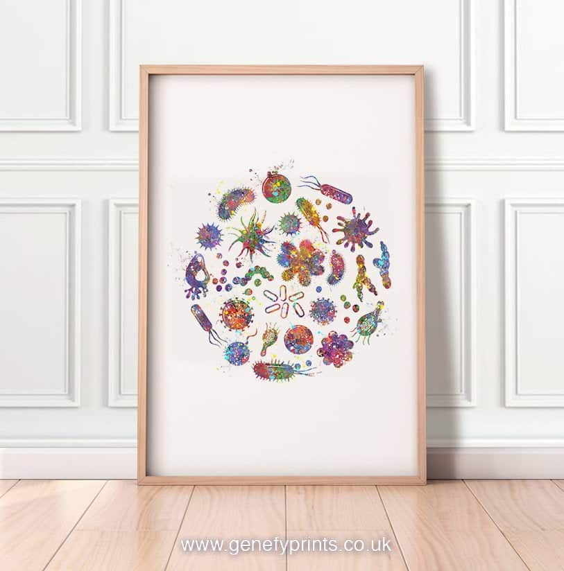 GenefyArt Microbiology Bacteria Watercolor Art Print