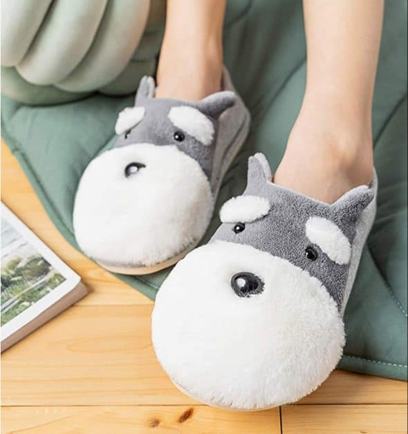 Cute Fuzzy Dog Slippers